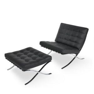 barcelona chair, chair and ottoman, accent chair, modern chair